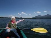 桧原湖をカヌーでツーリング